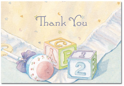 Baby Blocks & Quilt Thank You Note Card