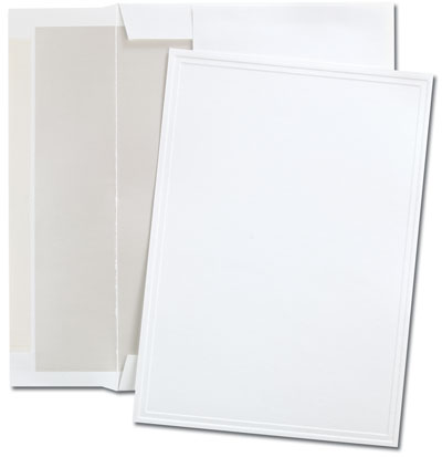 Triple Embossed White Flat Cards
