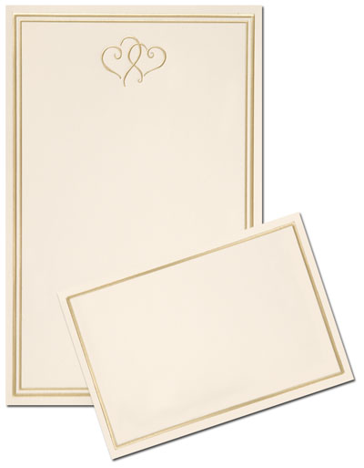 Gold Hearts Invitation & Response Card Kit