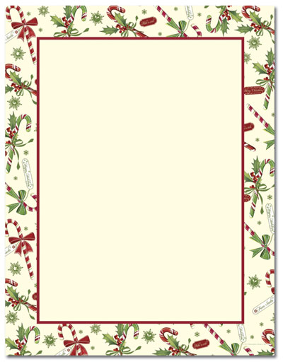 Candy Cane With Holly Letterhead - 80 pack
