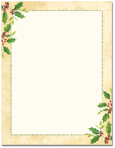 Falling Holly Letterhead - 25 pack
