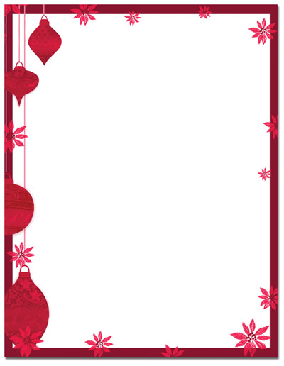 Painted Poinsettia Letterhead - 25 Pack