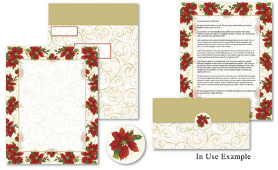 Poinsettia Swirls Self Mailers Kit