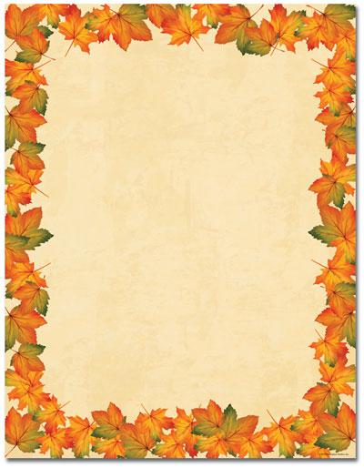 Painted Maple Leaves Letterhead - 25 pack