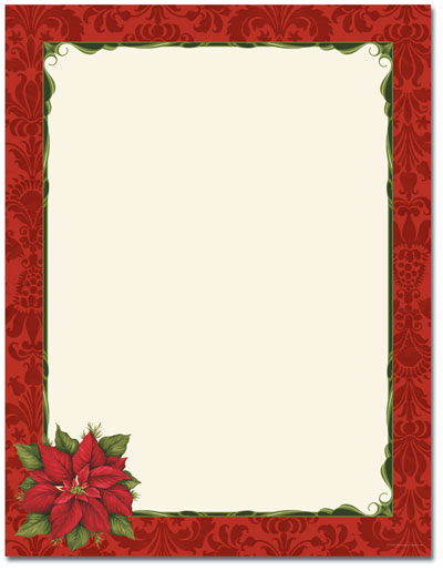 Poinsettia Damask Letterhead - 100 pack