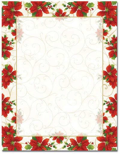 Poinsettia Swirl Letterhead - 80 pack