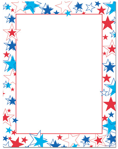 Red White Blue Stars Letterhead - 25 pack